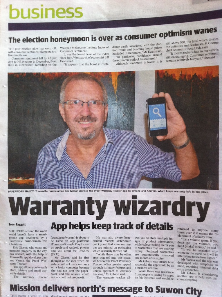 Newspaper Article on Proof Warranty Tracker